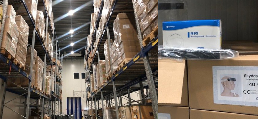 Martin & Serveras lager i Umeå lagerhåller skyddsutrustning för vård- och äldreomsorg